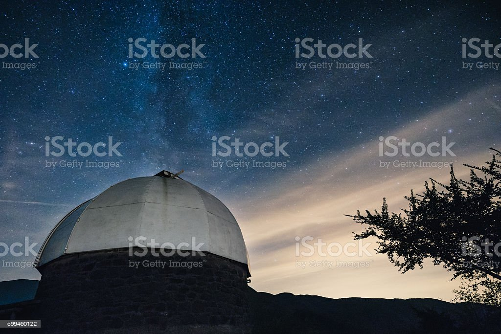 Astronomical Observatory At Night - Milky Way On The Background stock photo