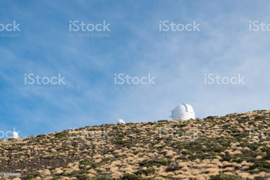 astronomical observatory station  buildings on mountain stock photo