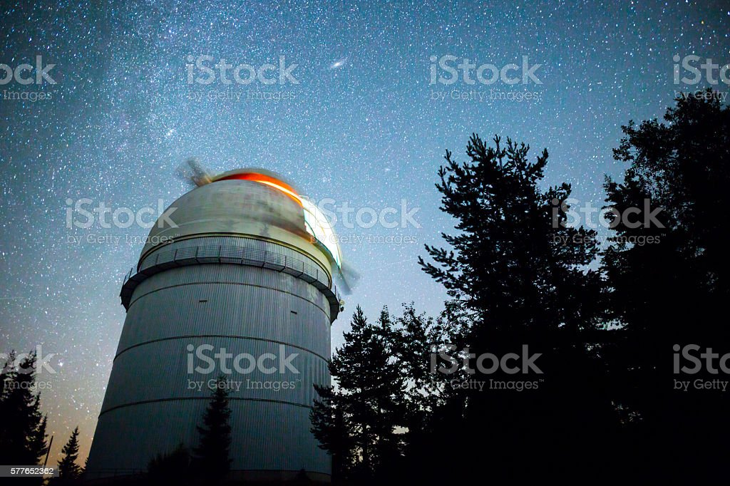 Astronomical Observatory under the night sky stars stock photo