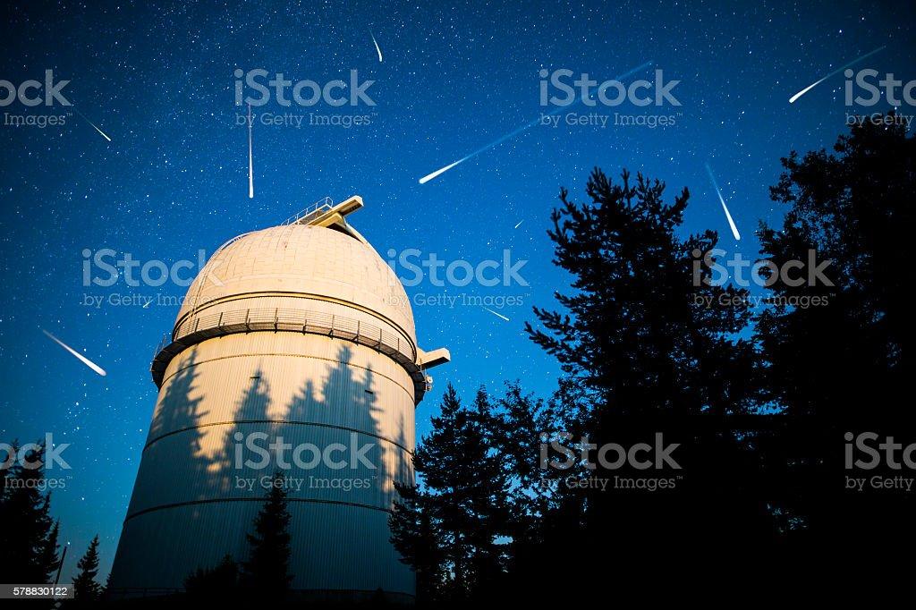 Astronomical Observatory under the night sky stars. Vignette stock photo
