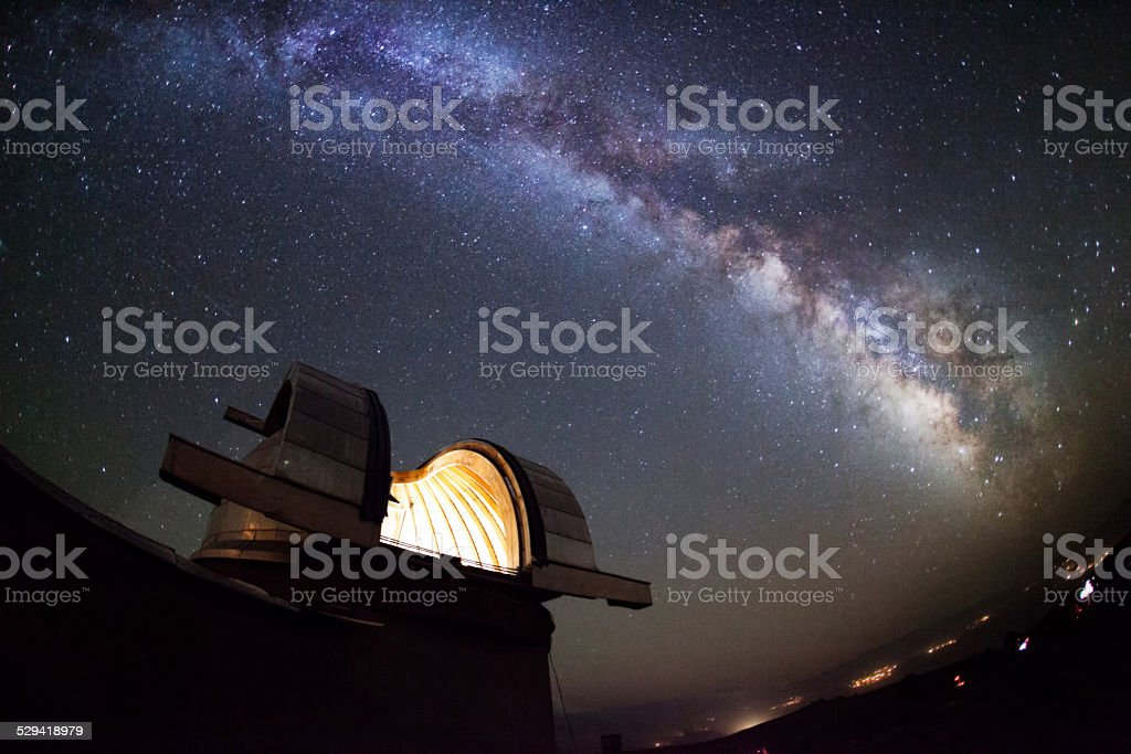 Astronomical observatory under the stars stock photo