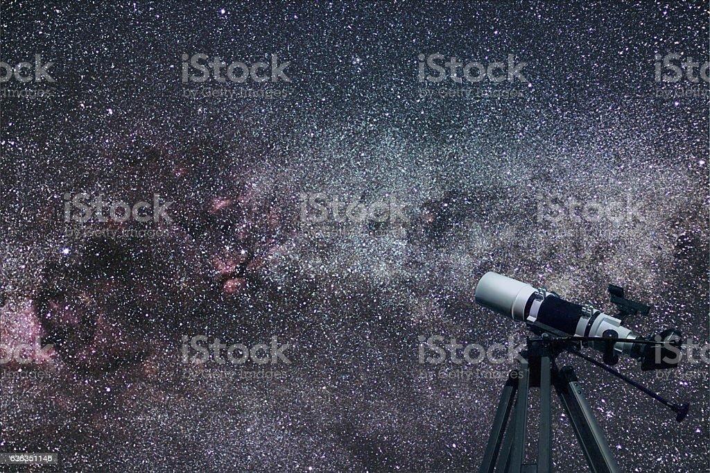 Astronomical Telescope Cygnus (swan) constellation in the night stock photo