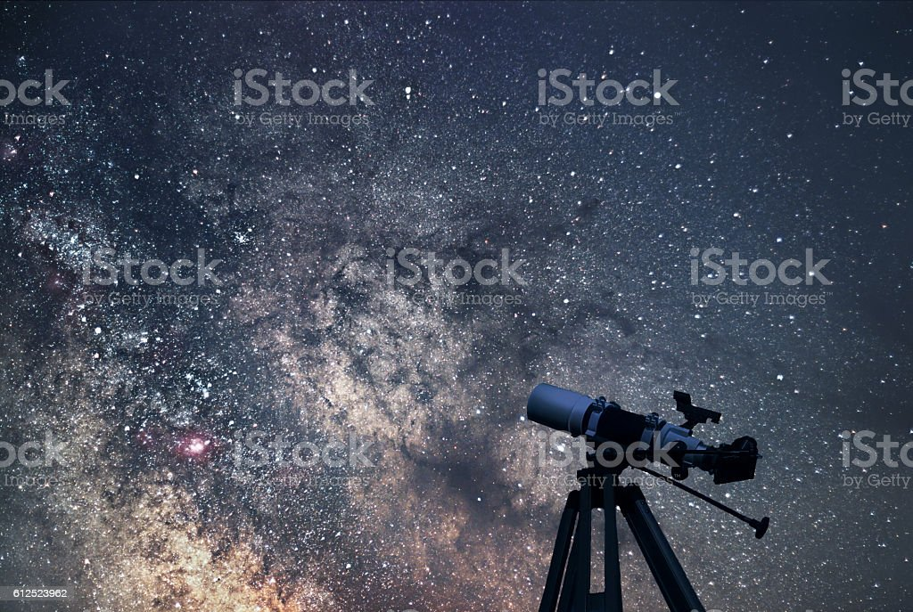 Astronomical Telescope  Starry night. Milky Way Galaxy. stock photo
