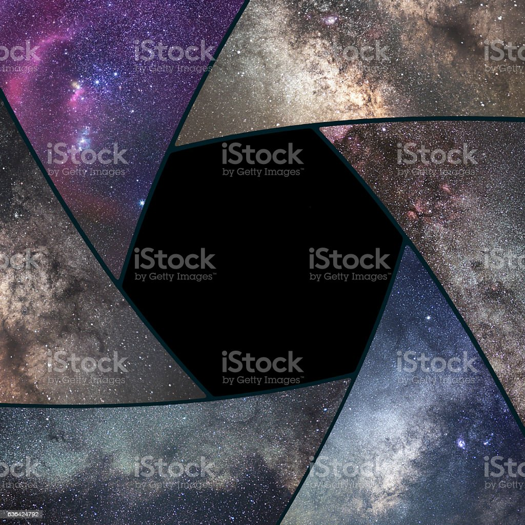 Astrophotography collage. Shutter collage Universe. Space Astronomy  Long exposure photography. stock photo
