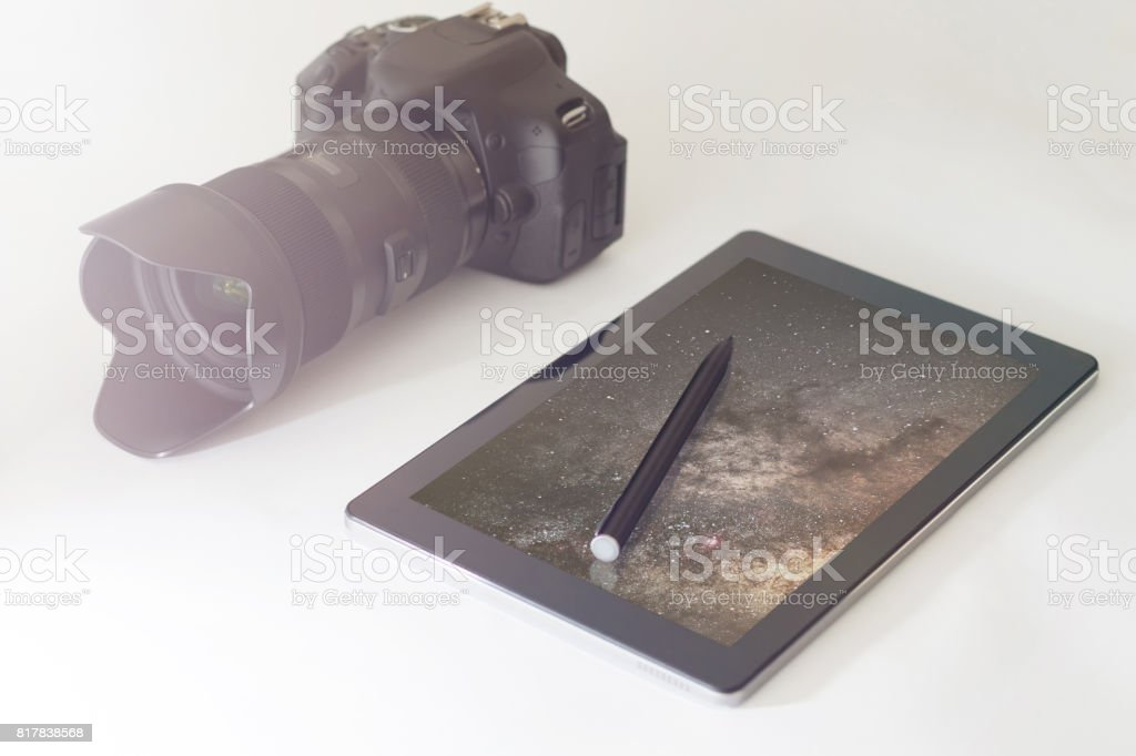 Astrophotography concept, DSLR, digital tablet stock photo