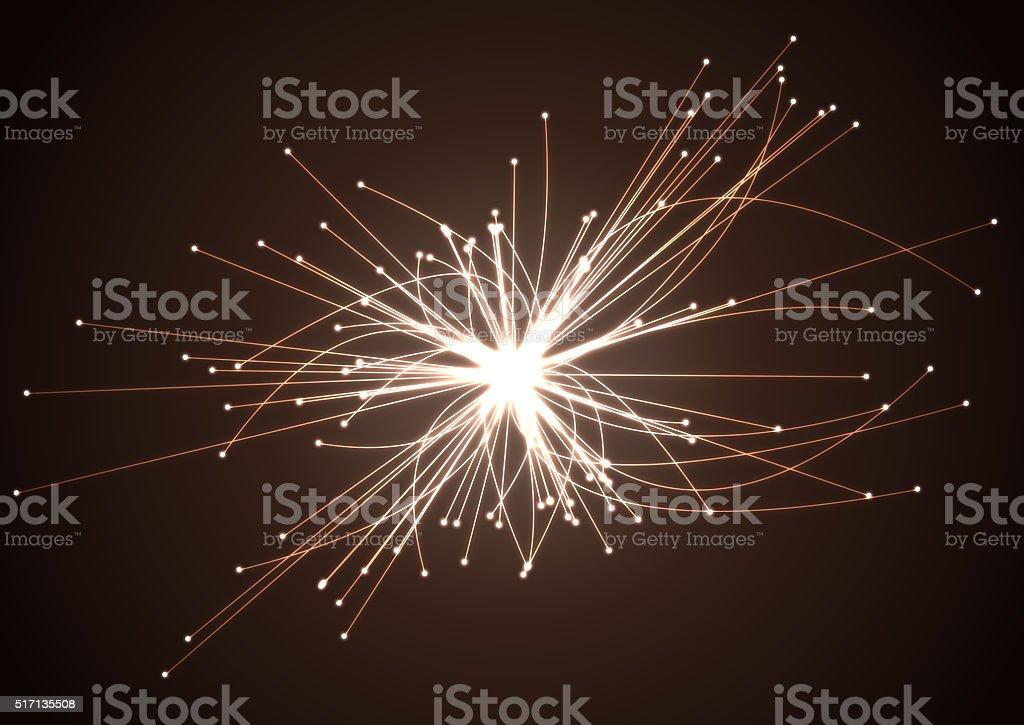 Astrophysics concept. Scientific research. Particles collision. stock photo