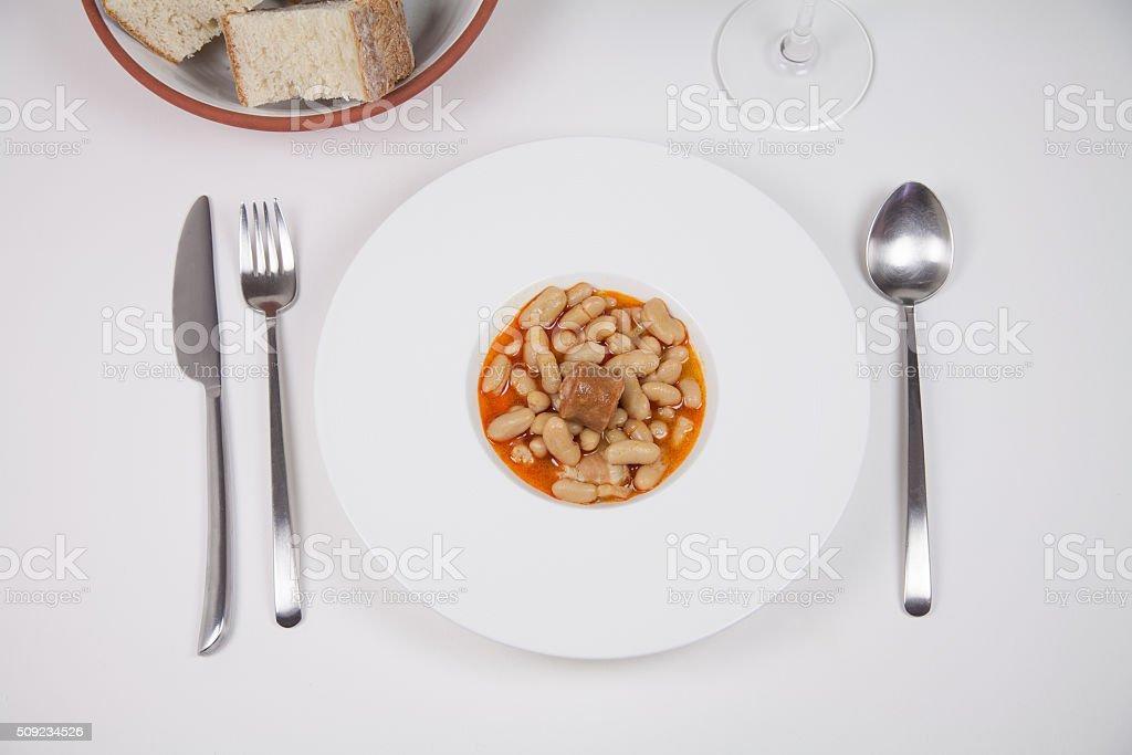 Asturian fabada ready to eat stock photo