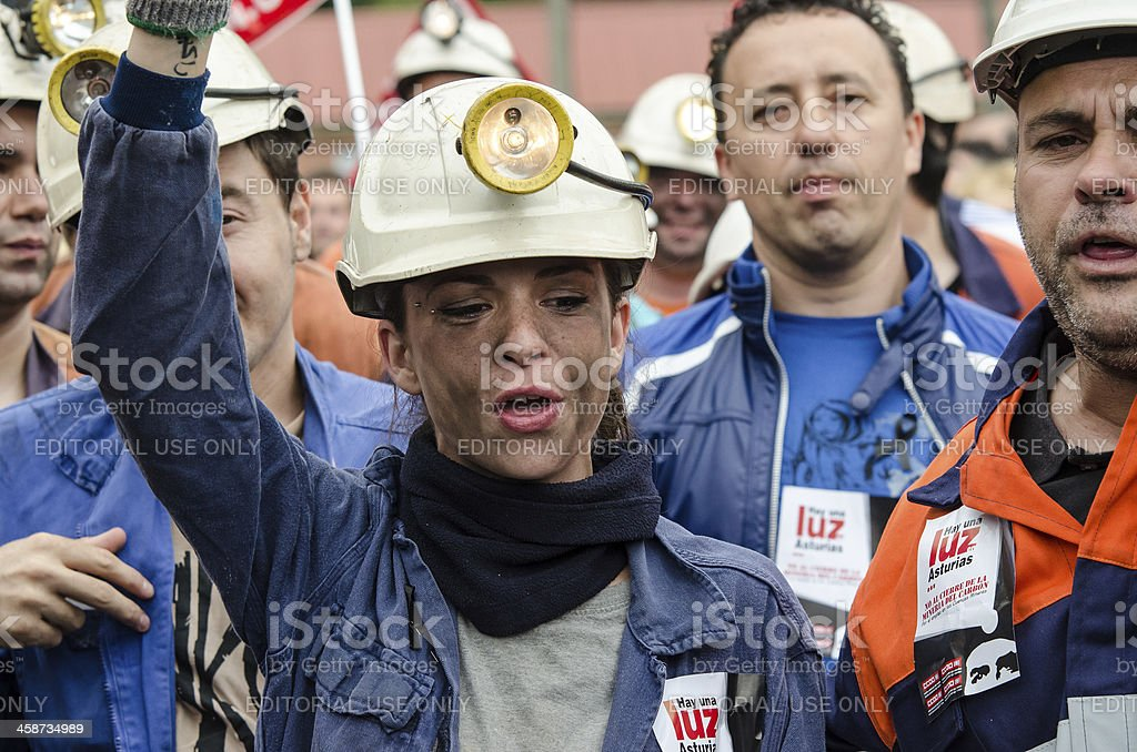Asturian miners protest royalty-free stock photo