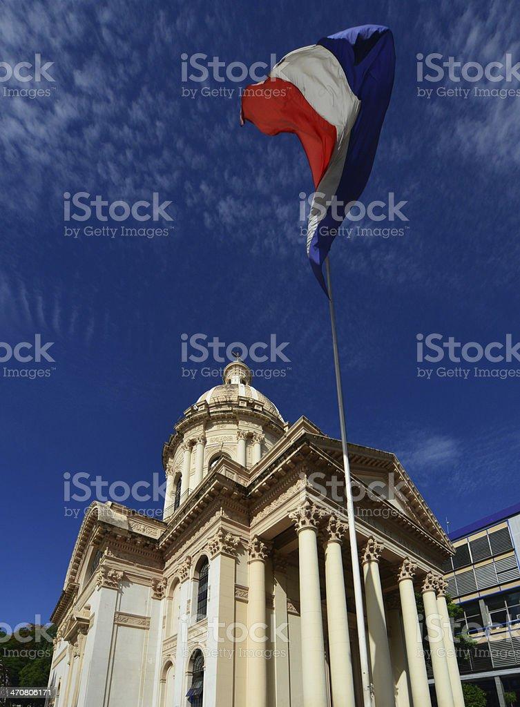 Asuncion, Paraguay: Pantheon and flag stock photo
