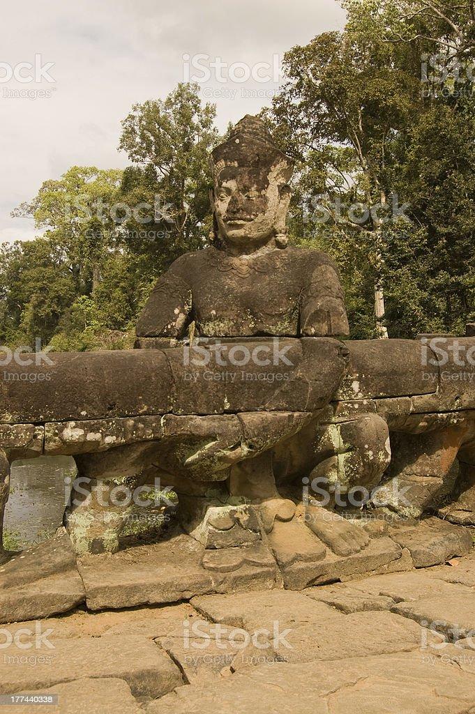 Asura statue, Preah Khan Temple, Angkor stock photo