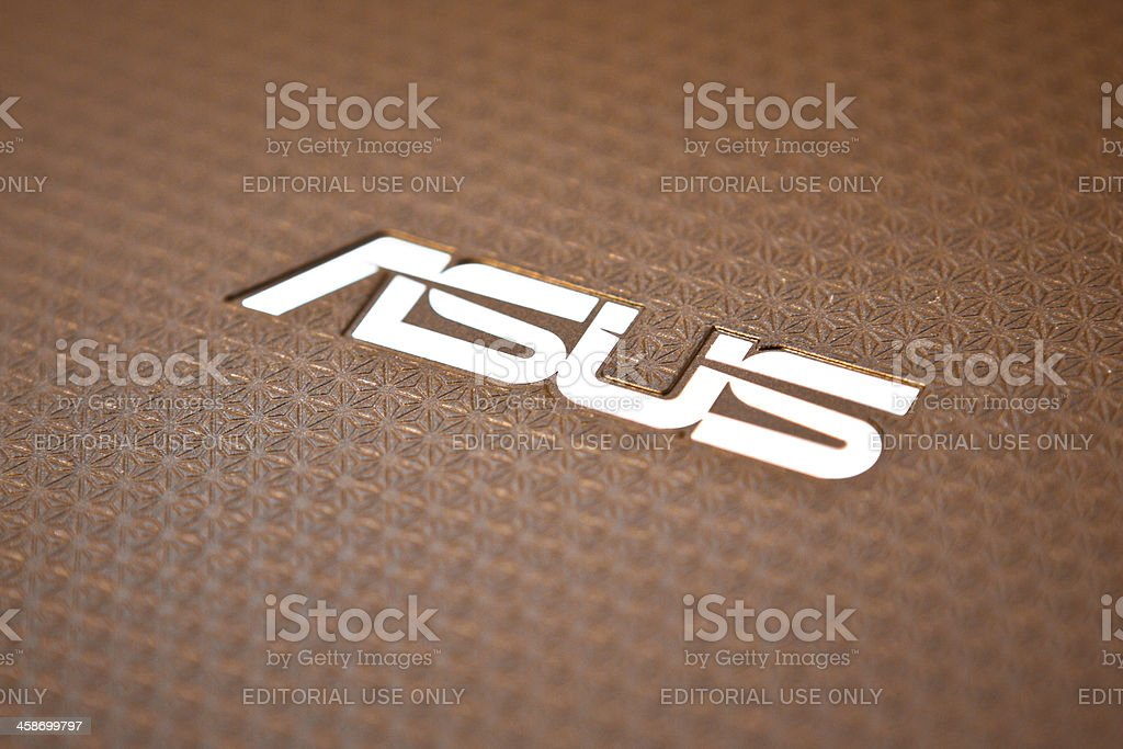 Asus Logo on the Back of an Eee Pad stock photo