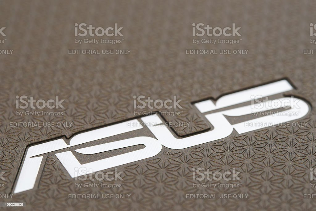 Asus logo on the back side of Eee Pad Transformer stock photo