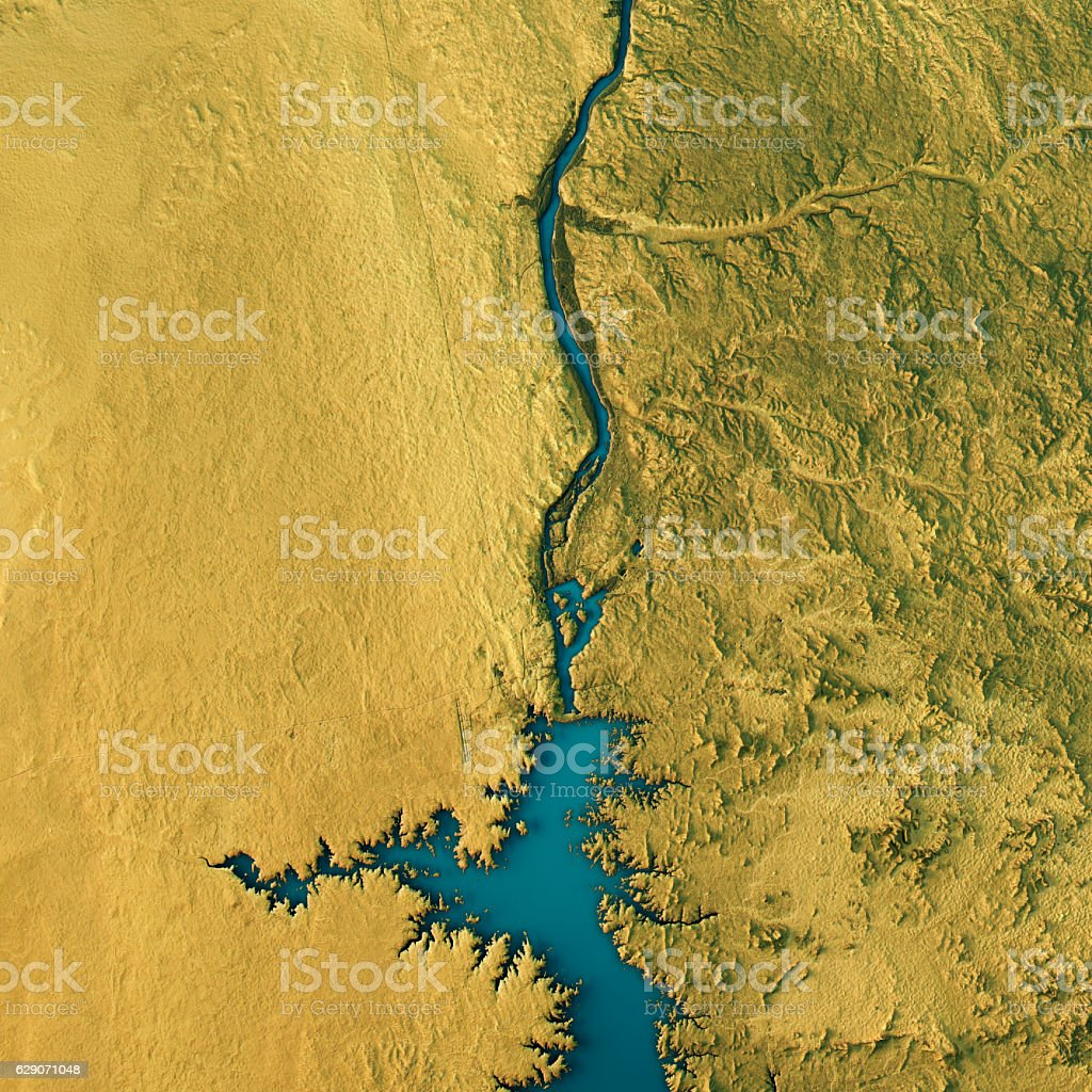 Aswan Dam Topographic Map Natural Color Top View stock photo