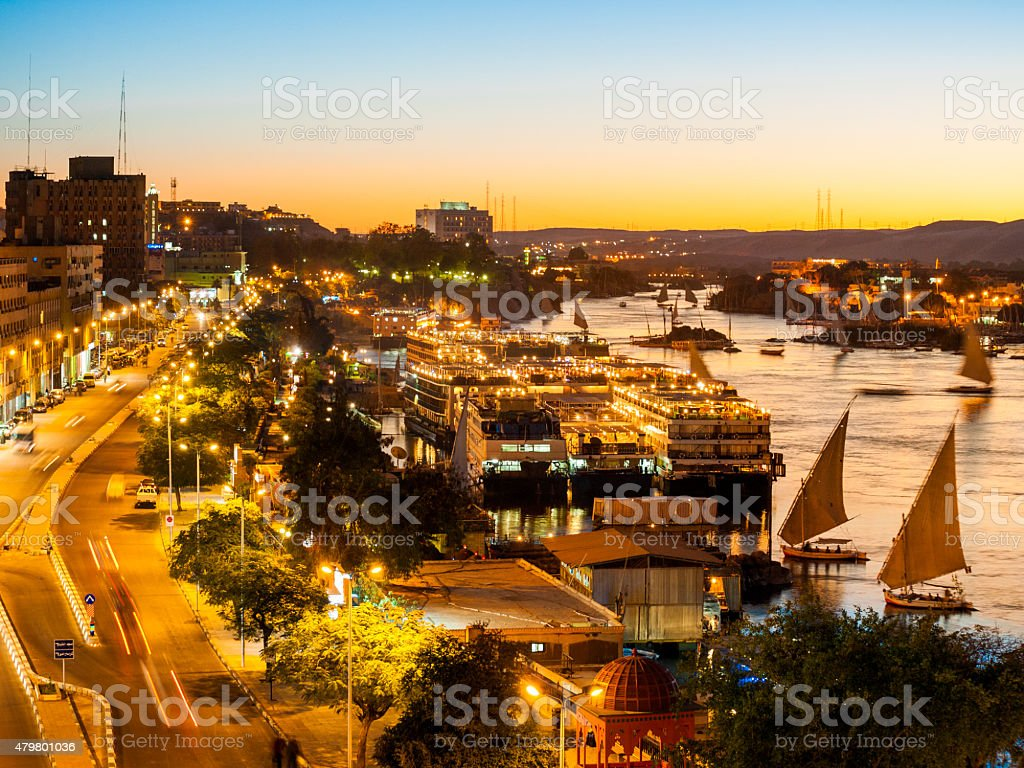 Aswan Twilight, Egypt stock photo