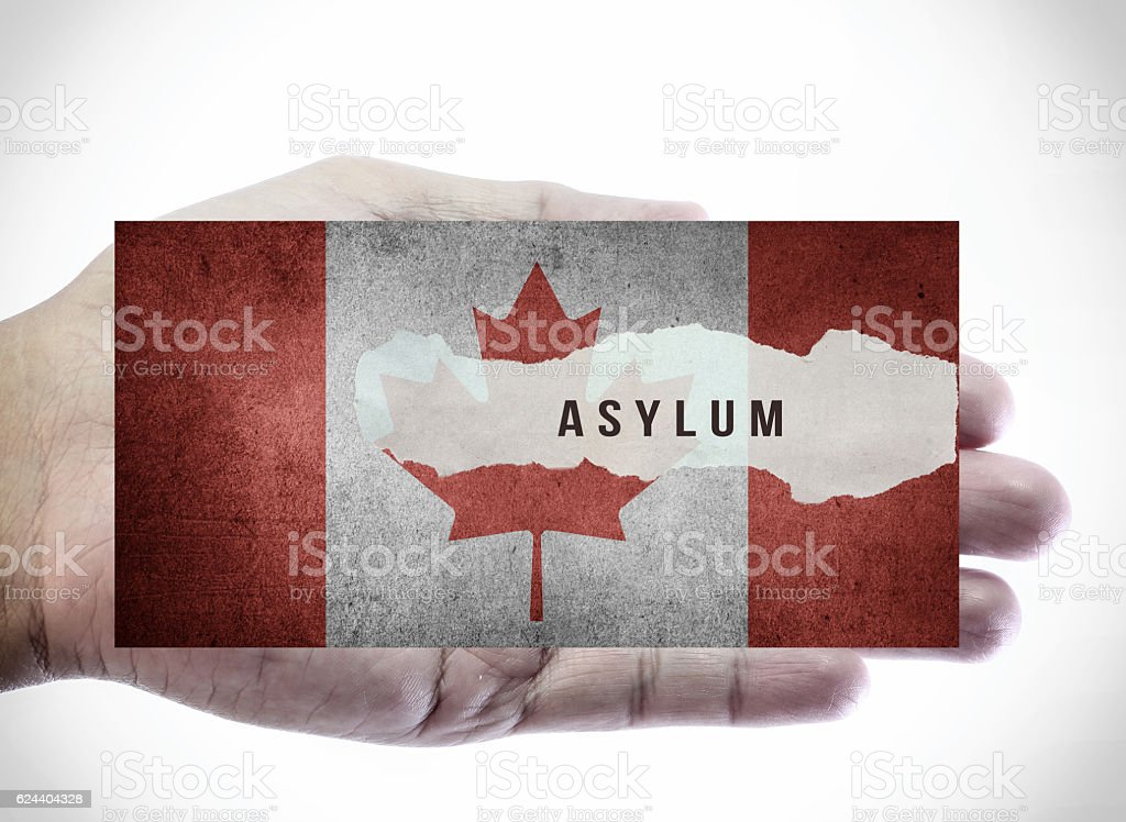 Asylum on Canadian flag. stock photo