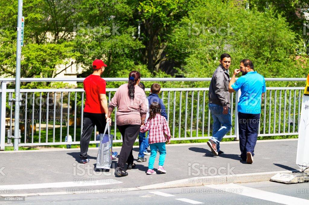 Asylum seeker families in Essen Werden stock photo