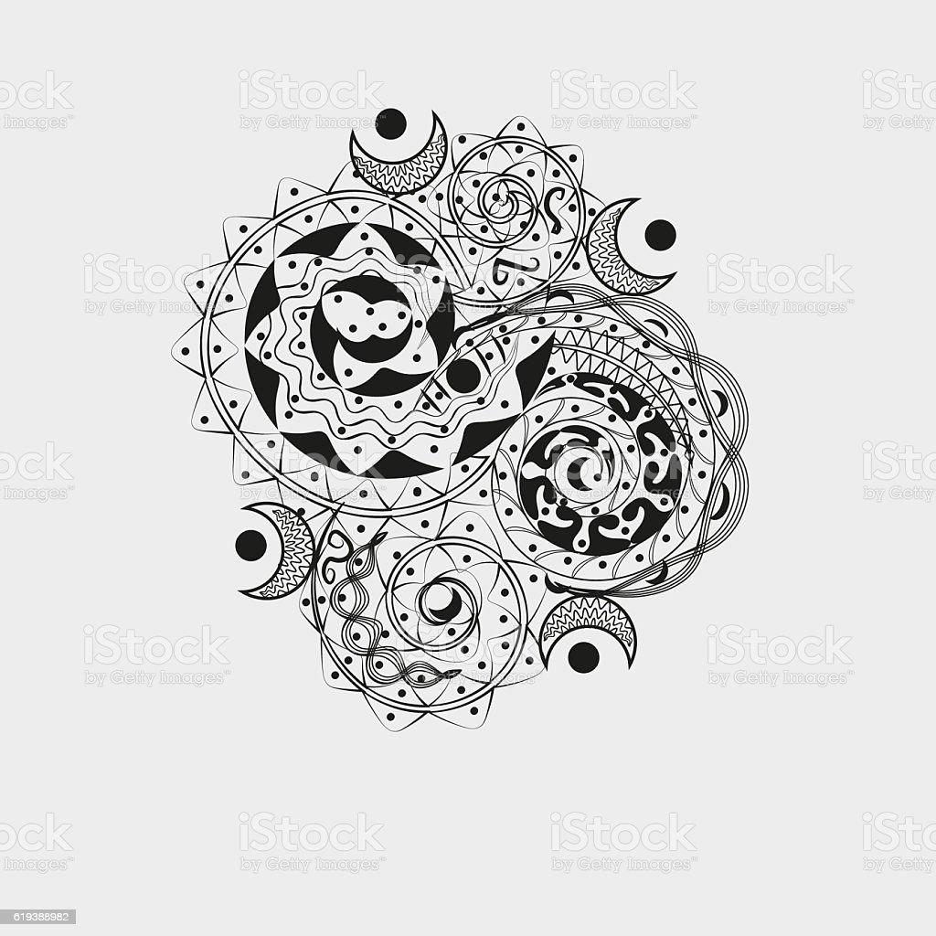 Asymmetric black ornament for tattoo stock photo