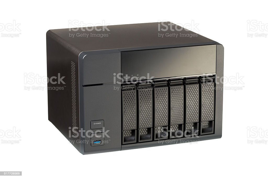 NAS at 6 compartments for HD stock photo