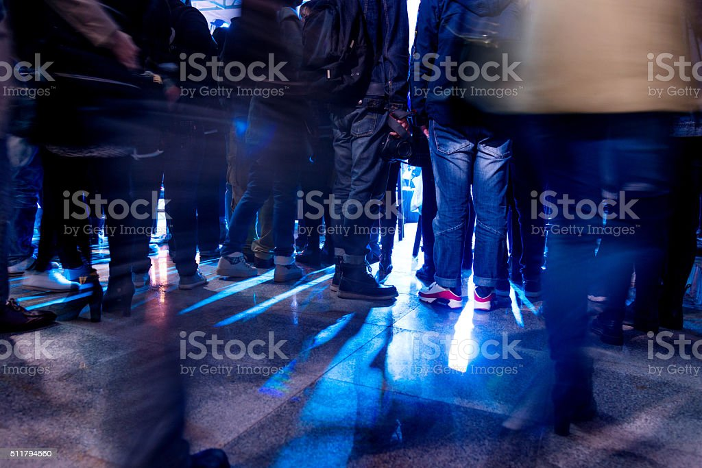 at a night concert stock photo