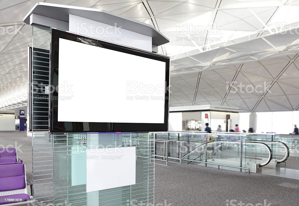 LCD TV at airport stock photo