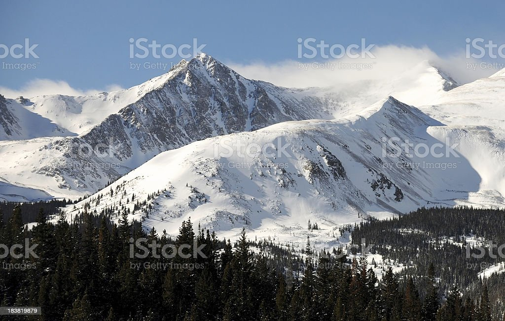 At Altitude - Snowcapped Mountain Peak stock photo