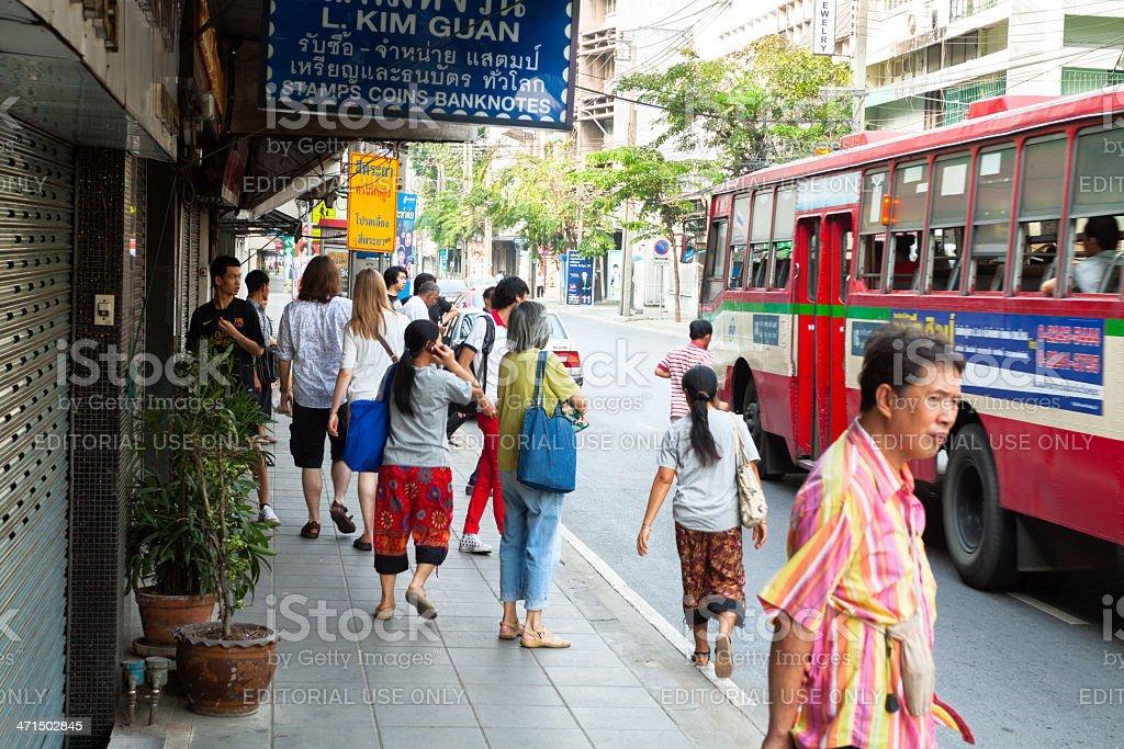 At bus stop royalty-free stock photo