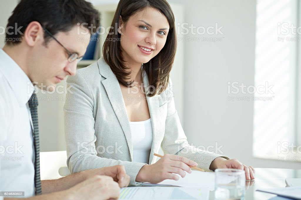 At business meeting stock photo