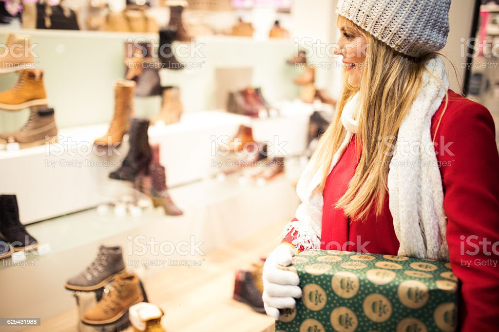 At Christmas shopping stock photo