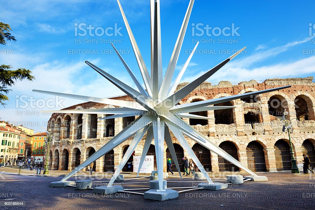 At Christmas time in Verona city is assembled a comet stock photo