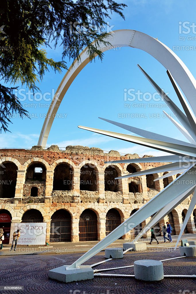 at Christmas time, in Verona city is assembled a comet stock photo