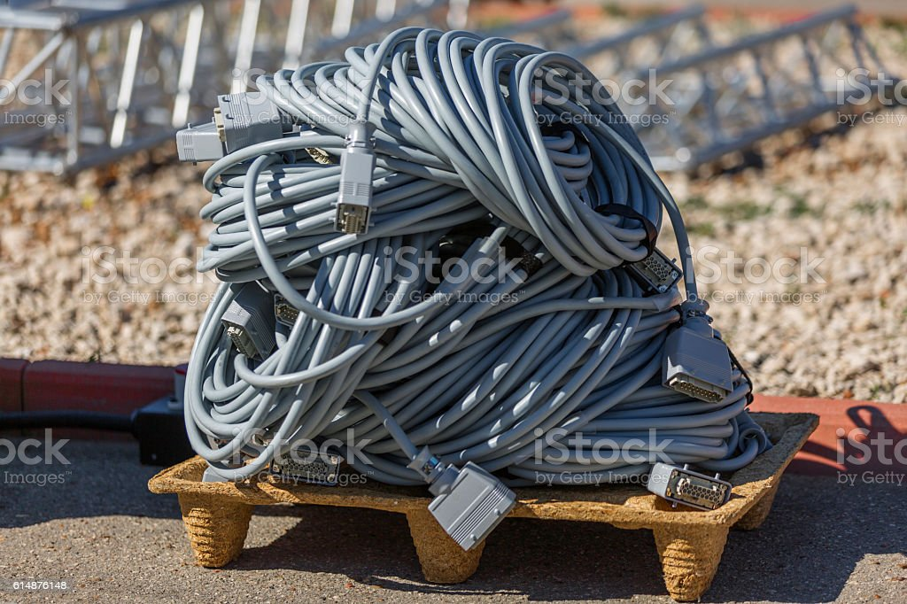 At construction site. Electric cable on wooden pallet stock photo