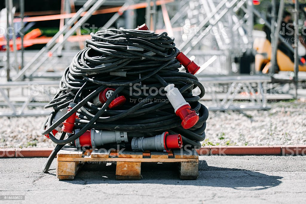 At construction site. Electriccable on wooden pallet stock photo