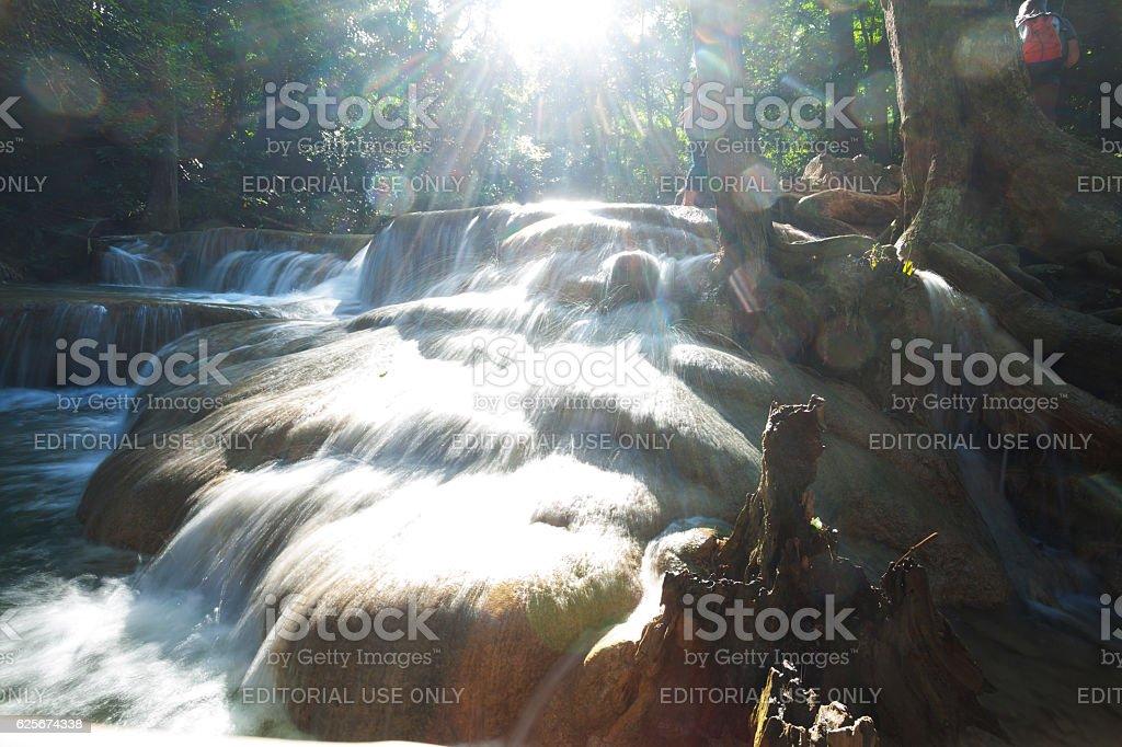 At Erawan waterfalls in late afternoon sunshine stock photo