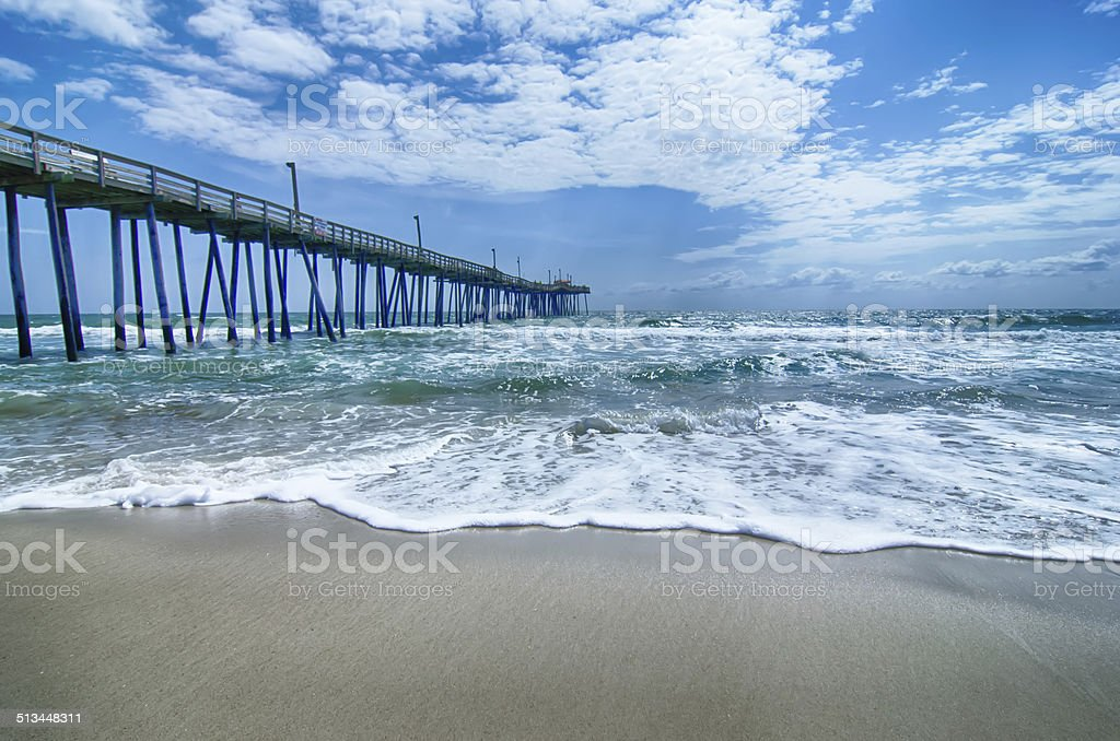 at fishing pier on the Outer Banks, North Carolina stock photo