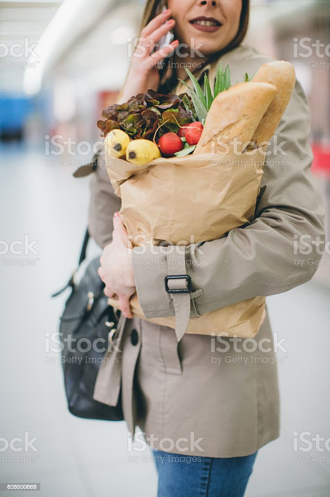 At grocery store stock photo