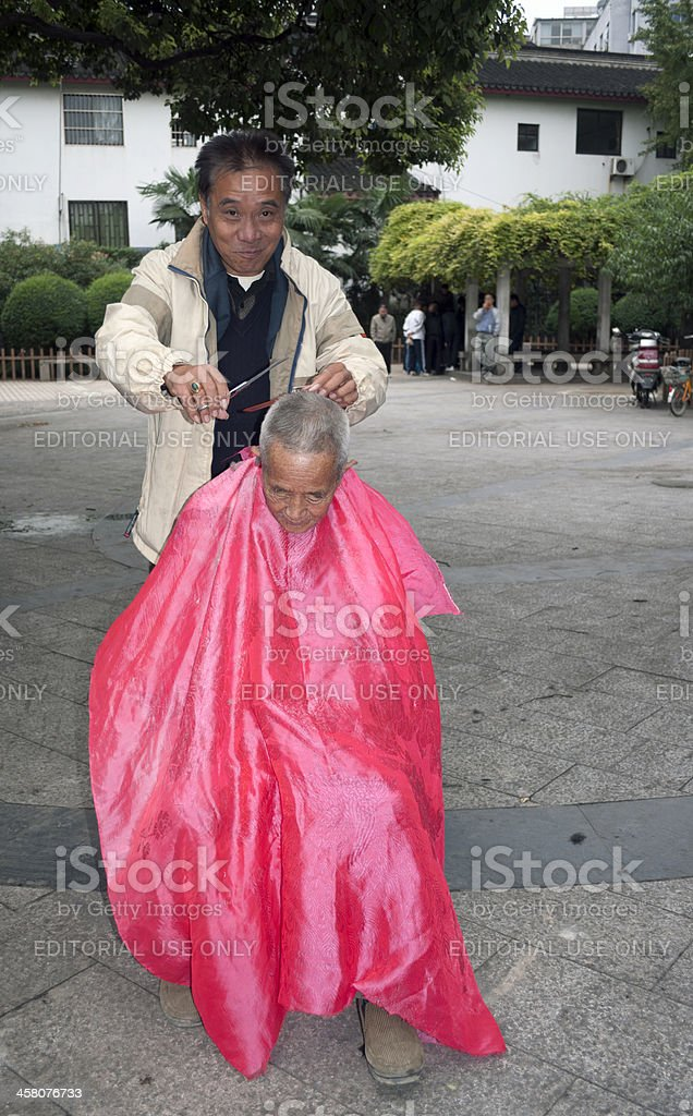 At Hairdresser's on Xi Zhongshi Street Suzhou royalty-free stock photo