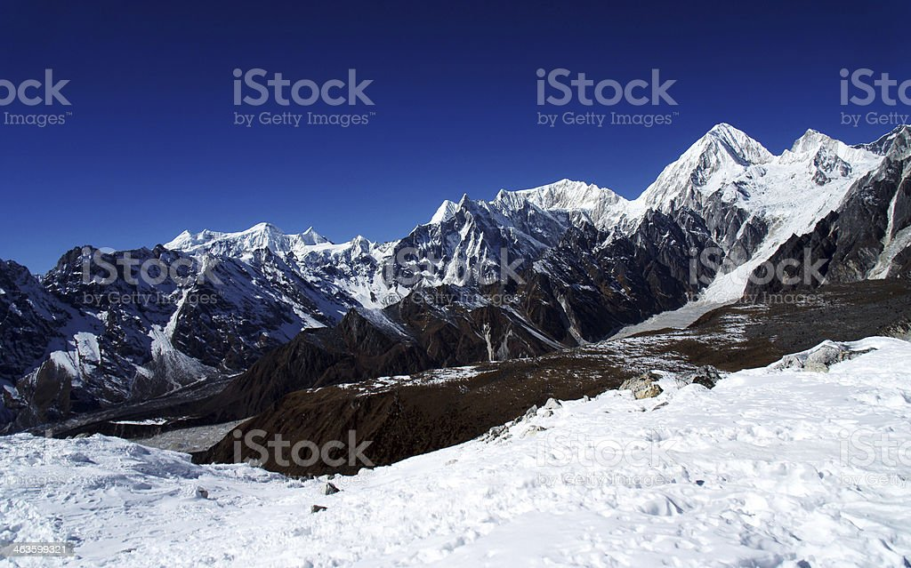 At height,  view from the pass Larkya La, Himalayas, Nepal royalty-free stock photo