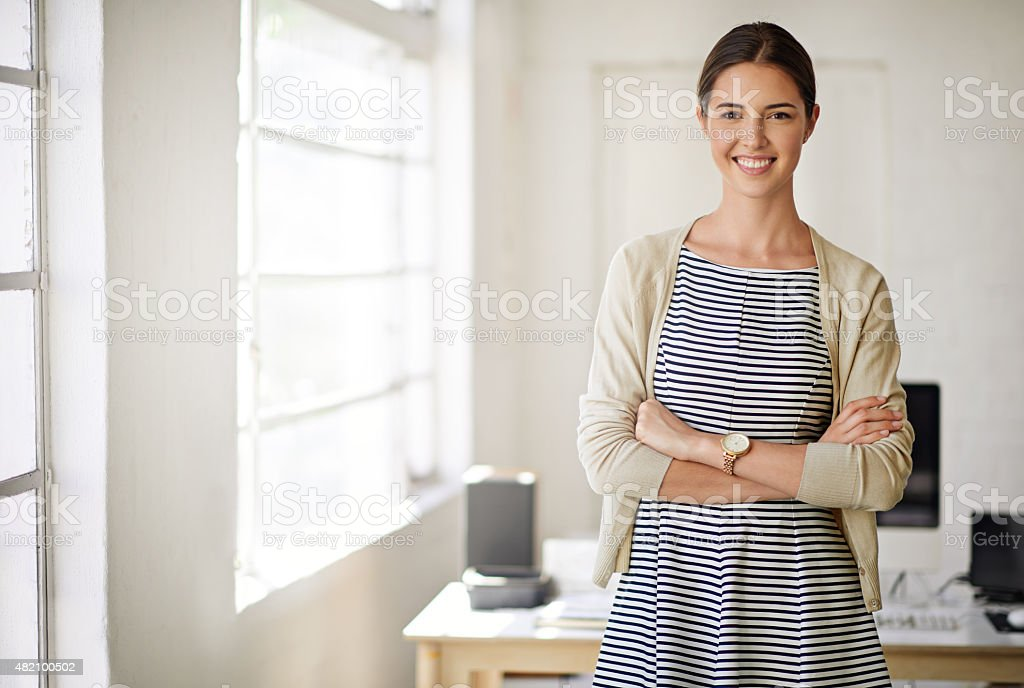 At home in the business world stock photo