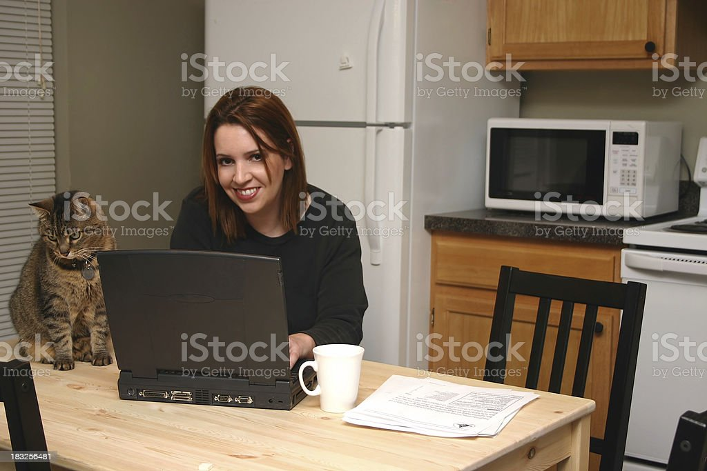 At home working. stock photo