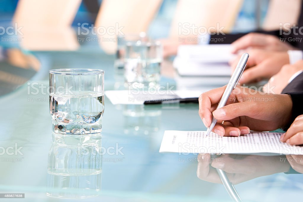 At interview stock photo