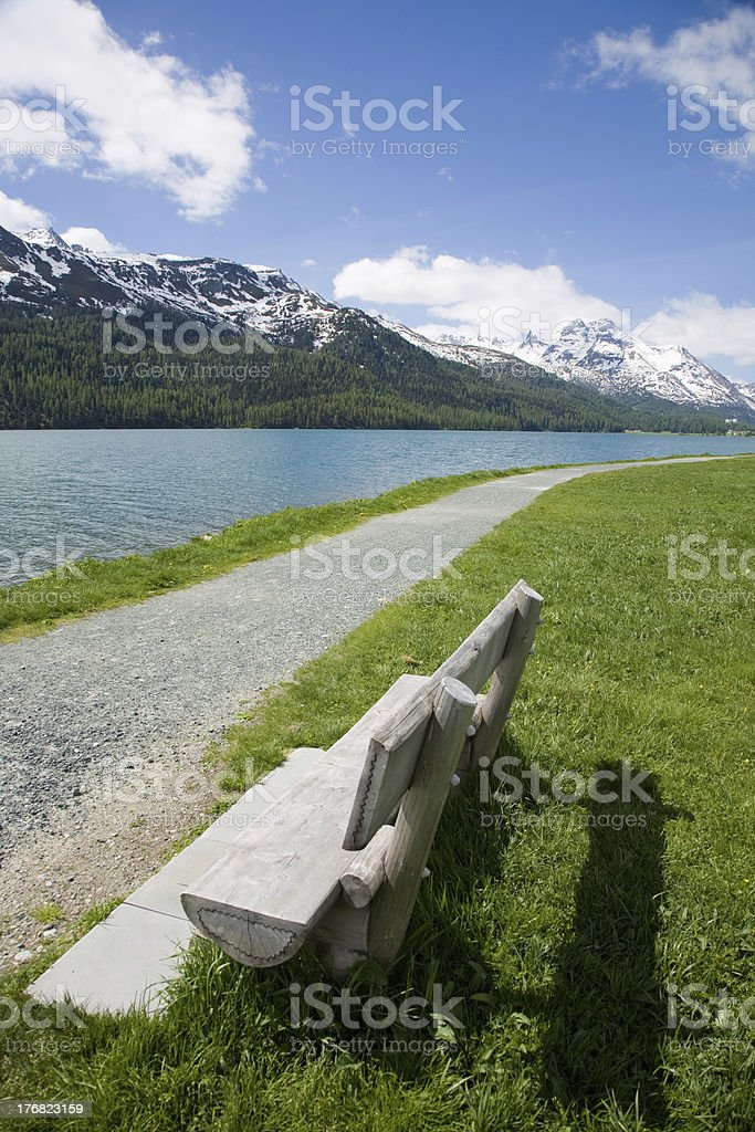 at Lake Silvaplana stock photo