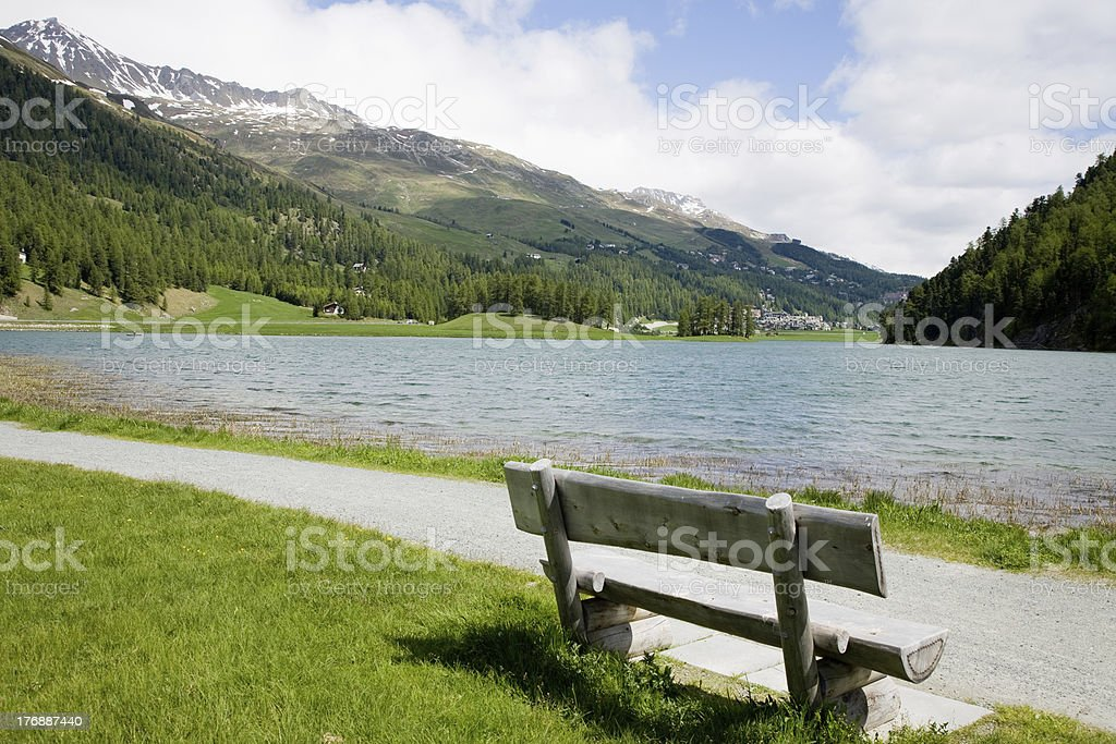 at Lake Silvaplana stock photo
