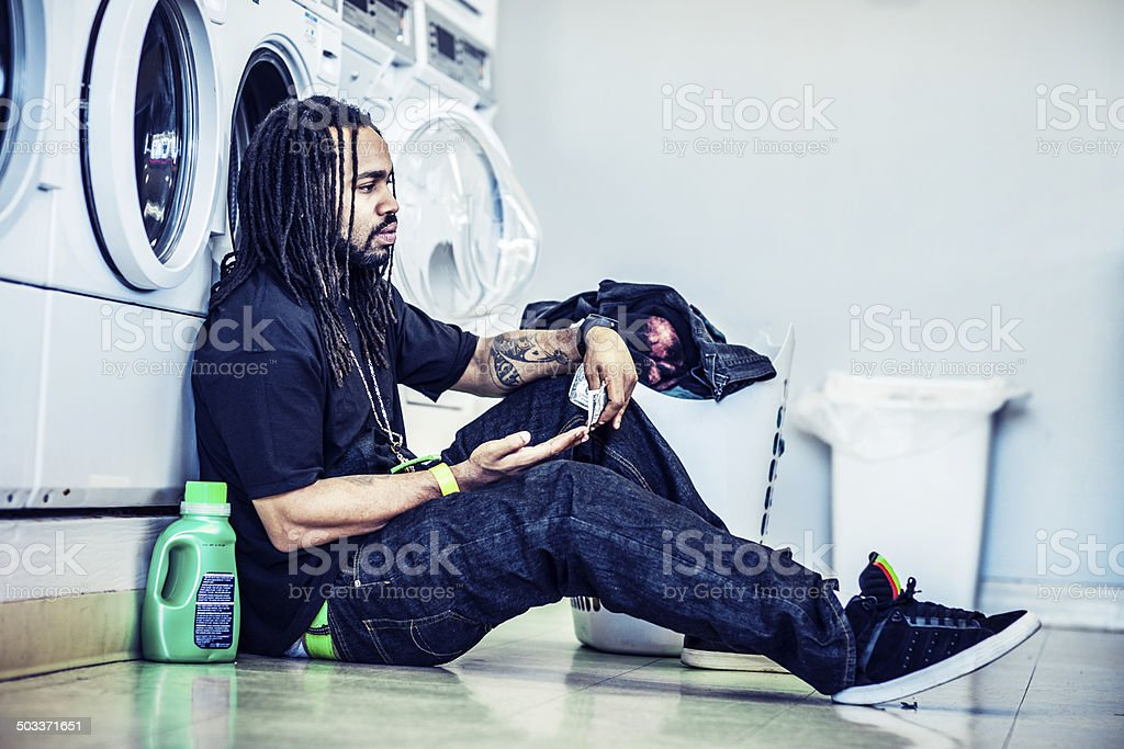 At laundromat royalty-free stock photo