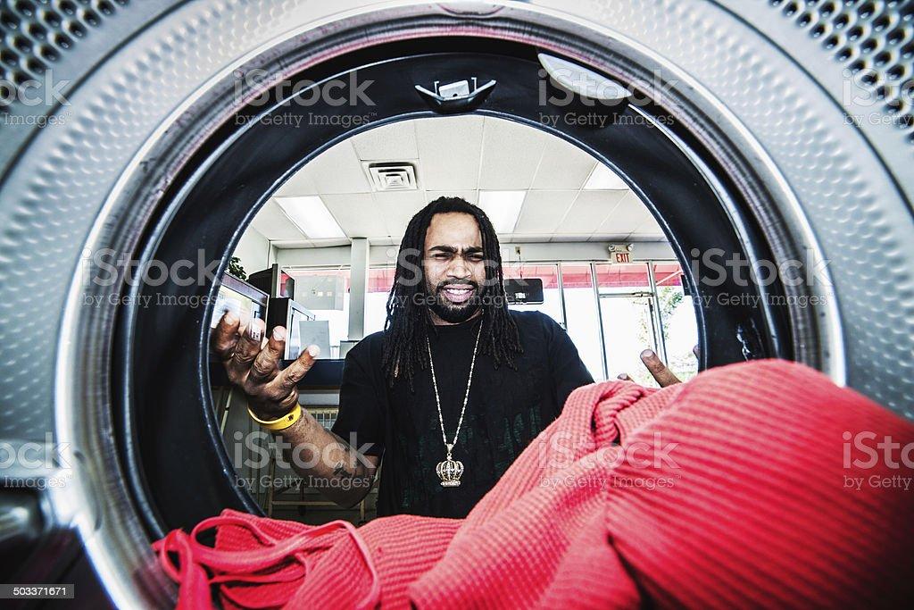 At laundromat royalty-free stock photo