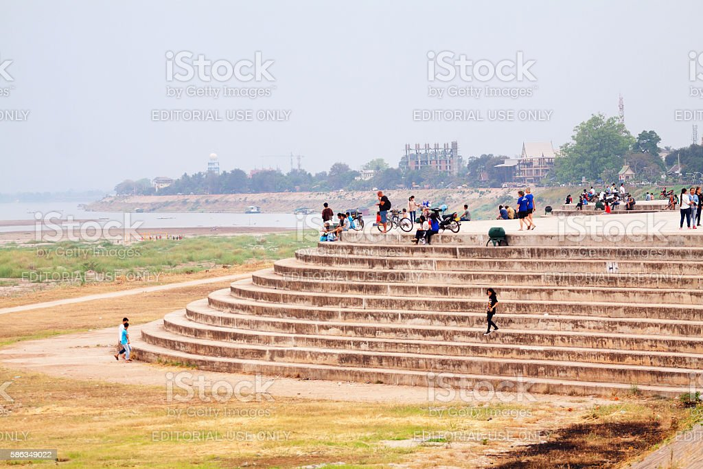 At Mekong in Vientiane stock photo