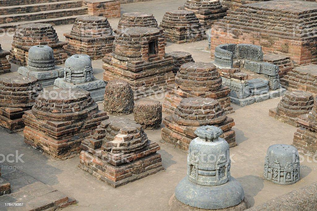 At Nalanda, the site of an ancient Buddhist university. stock photo