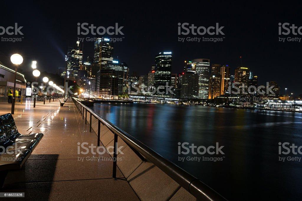 CBD at night stock photo