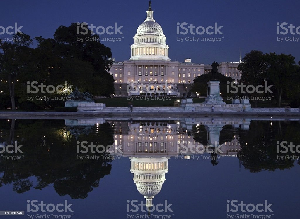 At Night US Capitol Building royalty-free stock photo