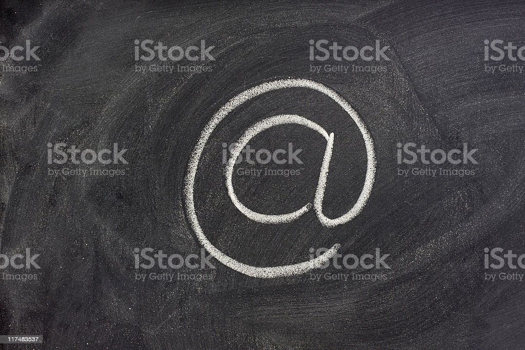 at or e-mail address sign on blackboard royalty-free stock photo
