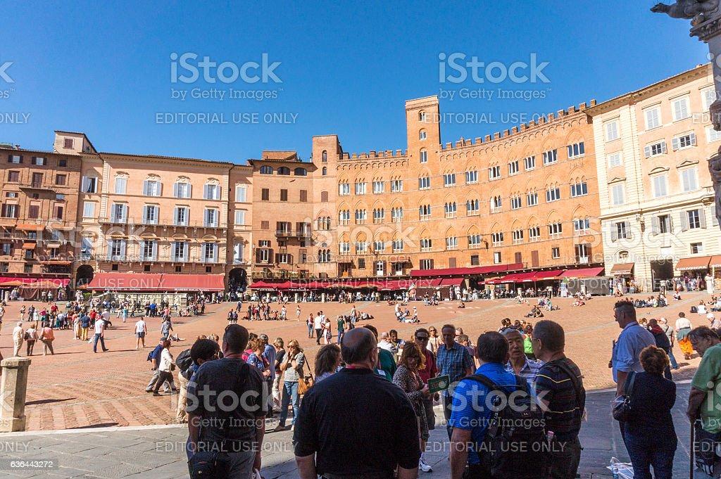At Piazza del campo, Siena, Italy stock photo